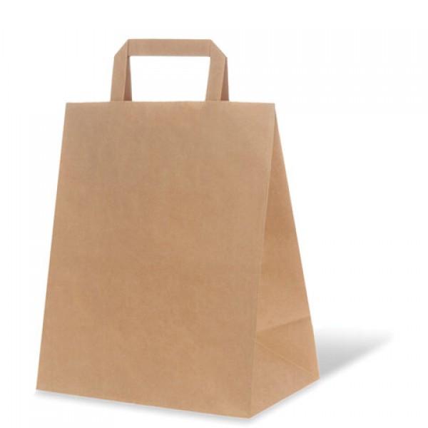 Крафт пакет бумажный 24х14х28 см, плоские ручки, плотность 70 г/м2, 606870