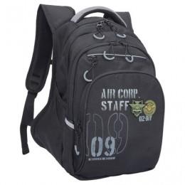 Рюкзак GRIZZLY школьный, анатомическая спинка, черный, Десант, 39x26x20 см, RB-050-2/3