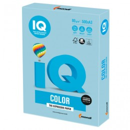 Бумага IQ color БОЛЬШОЙ ФОРМАТ (297х420 мм), А3, 80 г/м2, 500 л., пастель, голубой лед, OBL70