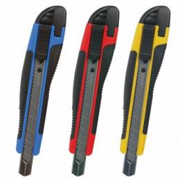Нож канцелярский 9 мм BRAUBERG Universal, автофиксатор, цвет ассорти, резиновые вставки, блистер, 236970