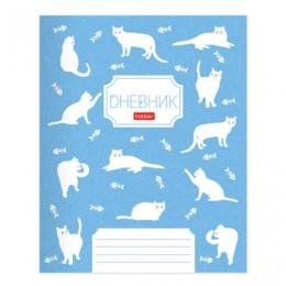 Дневник 1-11 класс 40 л., обложка картон, на скобе, фактурное тиснение, Кошечки, HTB, 40Д5тВ_20784