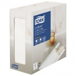Конверты бумажные нетканые для столовых приборов TORK LinStyle Premium, 39х39, 60шт, белые, 477227
