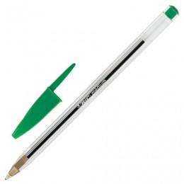 Ручка шариковая BIC Cristal, ЗЕЛЕНАЯ, корпус прозрачный, узел 1 мм, линия письма 0,32 мм, 875976