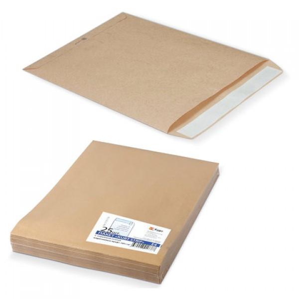 Конверт-пакеты Е4+ плоские (300х400 мм), до 300 листов, крафт-бумага, отрывная полоса, КОМПЛЕКТ 25 шт., 312017.25