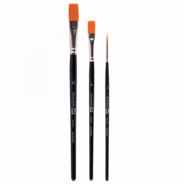 Кисти художественные BRAUBERG ART CLASSIC, набор 3 штуки, синтетика (круглая № 2, плоские № 8, 12), 200944