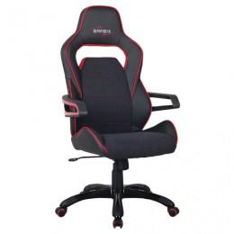 Кресло компьютерное BRABIX Nitro GM-001, ткань, экокожа, черное, вставки красные, 531816