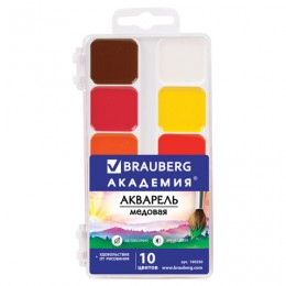Краски акварельные BRAUBERG АКАДЕМИЯ, 10 цветов, медовые, квадратные кюветы, пластиковый пенал, 190550