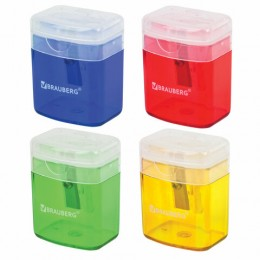 Точилка BRAUBERG OfficeBox, с контейнером и крышкой, прямоугольная, в упаковке с подвесом, ассорти, 222494