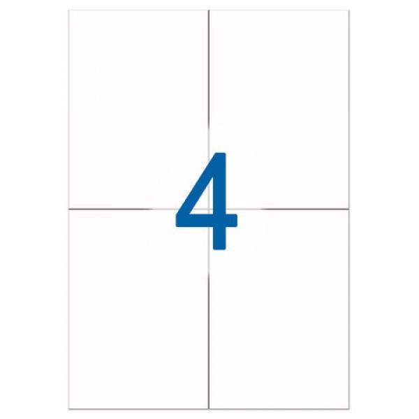 Этикетка самоклеящаяся 105х148,5 мм, 4 этикетки, белая, 65 г/м2, 50 листов, STAFF, 128823