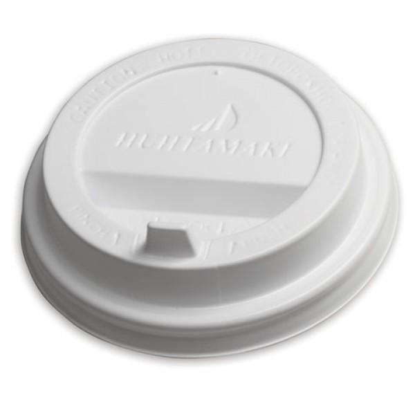 Одноразовая крышка для стакана 200-250 мл (d-80), КОМПЛЕКТ 100 шт., клапан-носик, белые, HUHTAMAKI, 8027, 77408027