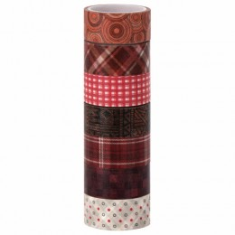 Клейкие WASHI-ленты для декора ОТТЕНКИ КРАСНОГО, 15 мм х 3 м, 7 цветов, рисовая бумага, ОСТРОВ СОКРОВИЩ, 661705