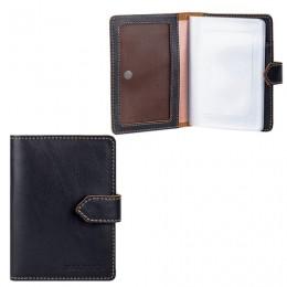 Бумажник водителя FABULA Kansas, натуральная кожа, тиснение, 6 пластиковых карманов, кнопка, черный, BV.10.TX