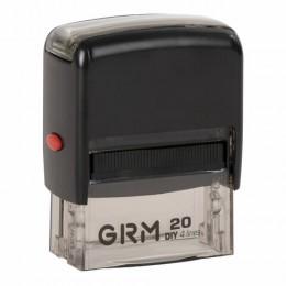 Штамп самонаборный 4-строчный, размер оттиска 38х14 мм, синий без рамки, GRM 20, КАССЫ В КОМПЛЕКТЕ, GRM20