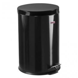 Ведро-контейнер для мусора (урна) с педалью ЛАЙМА Classic, 20 л, черное, глянцевое, металл, со съемным внутренним ведром, 604945