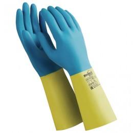 Перчатки латексно-неопреновые MANIPULA Союз, хлопчатобумажное напыление, размер 10-10,5 (XL), синие/желтые, LN-F-05