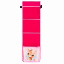 Кармашки-органайзер в шкафчик для детского сада ЮНЛАНДИЯ на резинке, 5 карманов, 21х68см, Giraffe, 270409