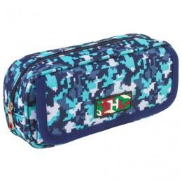 Пенал BRAUBERG для мальчиков, 1 отделение, органайзер, мягкий, Military, синий, 21х5х9 см, 228991