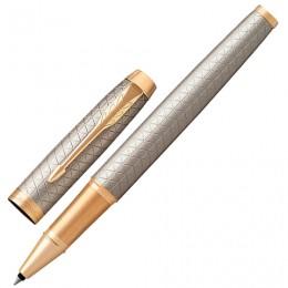 Ручка-роллер PARKER IM Premium Warm Silver GT, корпус серебристый матовый с гравировкой, позолоченные детали, черная, 1931686