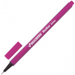 Ручка капиллярная BRAUBERG Aero, РОЗОВАЯ, трехгранная, металлический наконечник, линия письма 0,4 мм, 142256
