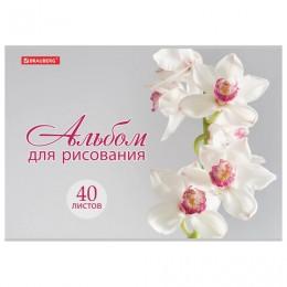 Альбом для рисования А4 40 л., скоба, блестки, BRAUBERG, 202х285 мм, Прекрасные цветы (1 вид), 105616