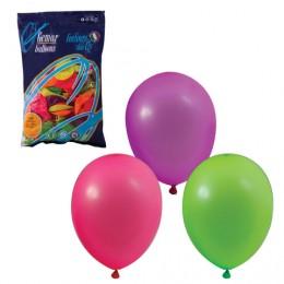 Шары воздушные 10 (25 см), комплект 100 шт., 12 неоновых цветов, в пакете, 1101-0002