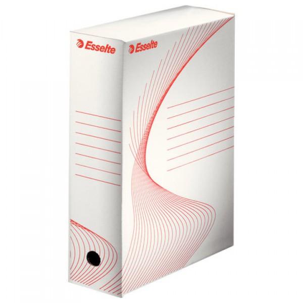 Короб архивный с клапаном А4 (245х345 мм), 100 мм, до 900 листов, микрогофрокартон, БЕЛЫЙ, ESSELTE