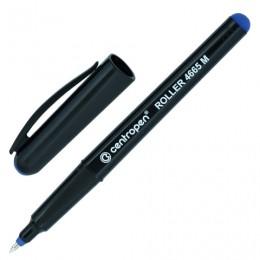 Ручка-роллер CENTROPEN, трехгранная, корпус черный, узел 0,7 мм, линия 0,6 мм, синяя, 4665/1С