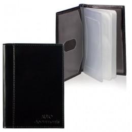 Бумажник водителя BEFLER Classic, натуральная кожа, тиснение, 6 пластиковых карманов, черный, BV.25.-1