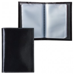 Визитница карманная BEFLER Classic на 40 визиток, натуральная кожа, черная, V.32.-1