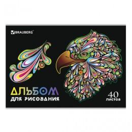 Альбом д/рис. А4 40л., скоба, глянцевый лак, ВИД 3, BRAUBERG, 105096