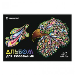 Альбом для рисования А4 40 л., скоба, глянцевый лак, BRAUBERG, 202х285 мм, Яркие краски (1 вид), 105096