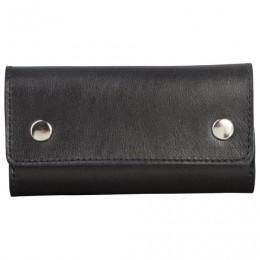 Футляр для ключей FABULA Estet, натуральная кожа, на кнопках, 60x110x25 мм, черный, KL44.MN