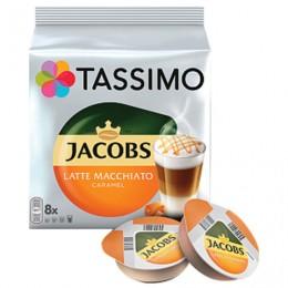 Капсулы для кофемашин TASSIMO JACOBS Latte Macchiato Caramel, натуральный кофе 8 шт. х 8 г, молочные капсулы 8 шт. х 21,7 г, Latte Caramel