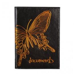 Бумажник водителя BEFLER Бабочка, натуральная кожа, тиснение-принт, 6 пластиковых карманов, черный, BV.35.-11