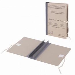 Папка архивная для переплета Форма 21, 40 мм, с гребешками, БУРАЯ, 4 отверстия, завязки, STAFF