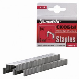 Скобы для мебельного степлера тип 53, 6 мм, MATRIX, количество 1000 шт., 41116