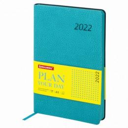 Ежедневник датированный 2022 А5 (138х213мм) BRAUBERG Stylish бирюзовый, код_, 112789