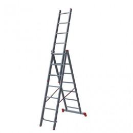 Лестница 7 ступеней, секционная, 3х1,88 м, высота 4,5 м, нагрузка 150 кг, алюминиевая, вес 8,8 кг, 1230307