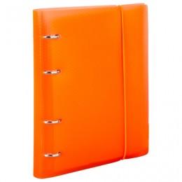Тетрадь на кольцах А5 (175х220 мм), 120 л., пластиковая обложка, клетка, с фиксирующей резинкой, BRAUBERG, оранжевый, 403571
