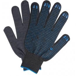 Перчатки хлопчатобумажные 10 класс, 40-42 г, 116 текс, ПВХ-точка, комплект 5 пар, ЛАЙМА ЛЮКС, черные, 601914