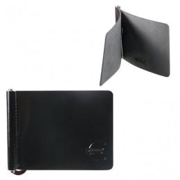 Зажим для купюр BEFLER Classic, натуральная кожа, тиснение, 105х86 мм, черный, Z.7.-1