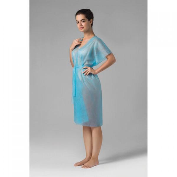 Халат-кимоно без рукавов, голубой, ЧИСТОВЬЕ КОМПЛЕКТ 10 шт. спанбонд, 01-564