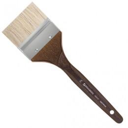 Кисть художественная профессиональная BRAUBERG ART CLASSIC, щетина, флейц, № 75, короткая ручка, 200747