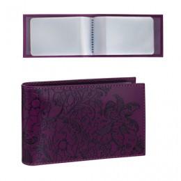 Визитница карманная BEFLER Гипюр на 40 визиток, натуральная кожа, тиснение, фиолетовая, V.43.-1