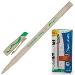 Ручка стираемая шариковая PAPER MATE Replay, ЗЕЛЕНАЯ, корпус бежевый, узел 1,2 мм, линия письма 1 мм, S0183001