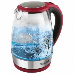 Чайник SCARLETT SC-EK27G49, 1,8л, 2200Вт, закрытый нагревательный элемент, стекло, красный