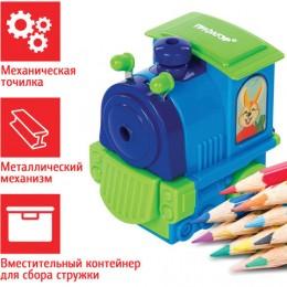 Точилка механическая ПИФАГОР Паровозик, металлический механизм, голубой/зелёный паровозик, 222519