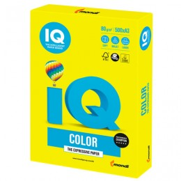 Бумага IQ color БОЛЬШОЙ ФОРМАТ (297х420 мм), А3, 80 г/м2, 500 л., неон, желтая, NEOGB