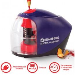 Точилка электрическая BRAUBERG Delta, питание от 4 батареек АА, спиралевидное лезвие, 228421