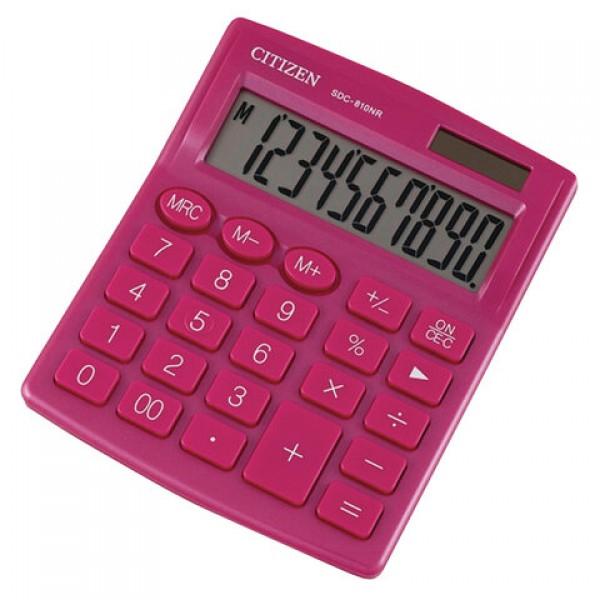 Калькулятор настольный CITIZEN SDC-810NRPKE, КОМПАКТНЫЙ (124х102 мм), 10 разрядов, двойное питание, РОЗОВЫЙ